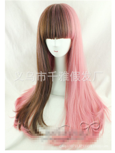 Sweet Smoky Pink&Brown Blended Lolita Wig with Bangs 70cm Long - In Stock