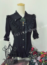 Gothic Black Lolita Blouse Middle Sleeves