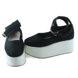 Black Velvet White Soles Lolita Shoes