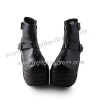 Matte Black Belts Ankle Length Short Boots