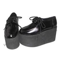 Black Straps Patent Leather Lolita Shoes