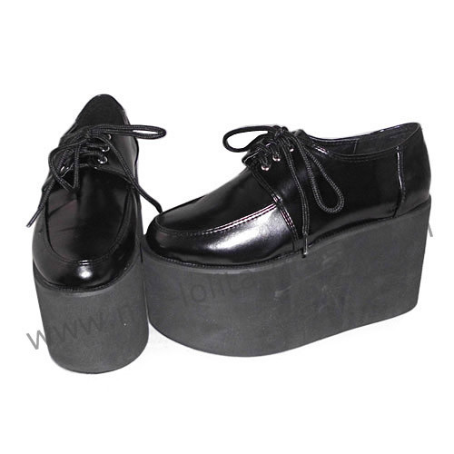 Black Straps Patent Leather Lolita Shoes