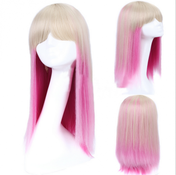 Anique White Pink Sweet Loitla Straight Wig