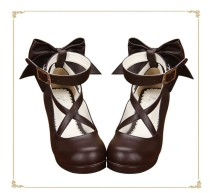 Angelic Imprint- Popular Brown Bow Lolita Anime Heels Shoes