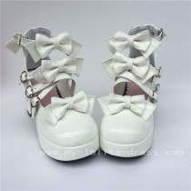 Sweet White Glossy Bows Straps Lolita Shoes
