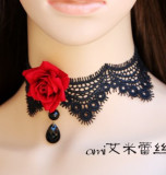 Gothic Black Lace Choker Bold Red Rose-out