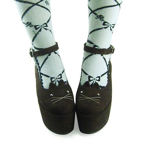 Coffee Velvet High Platform Lolita Shoes