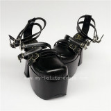 Black Patent Leather Straps Lolita Summer Sandals