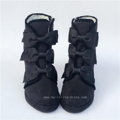 Black Velvet Bows Lolita Winter Boots