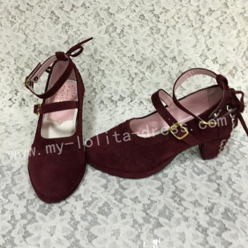 Sweet Wine Velvet Lolita Hees Shoes