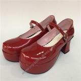 Girl's Wine Glossy Lolita Heels Shoes