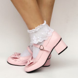 Wine Patent Leather Bow Lolita Shoes
