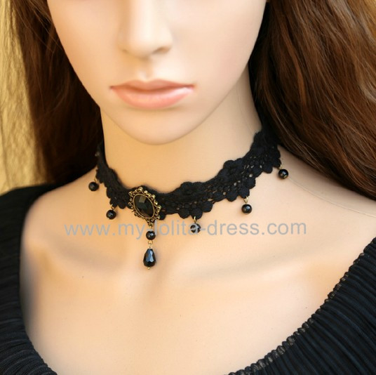 Black Lace Beads Lolita Choker For Girls 7 99 Lolita Necklace Chokers