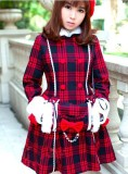 Red Black Gingham Lolita Jacket with Cape