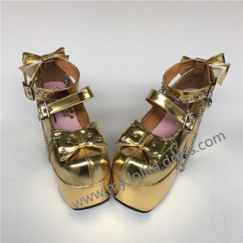 Glossy Golden Lolita High Platform Shoes with Metal Chains