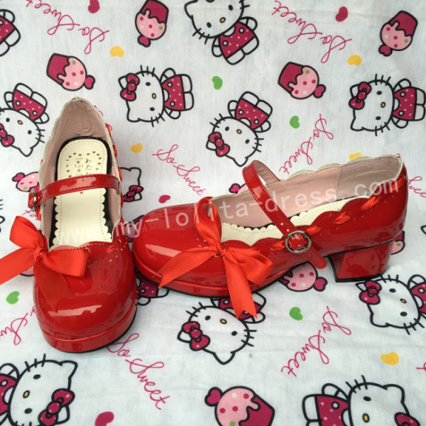 Girl's Sweet Glossy Red Lolita Heels Shoes