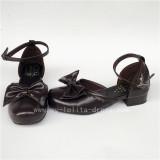 Sweet Coffee Bows Lolita Low Heels Shoes
