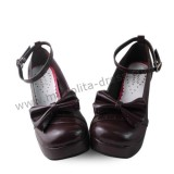 Dark Coffee Bow Lolita Princess Shoes