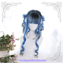 Blue Rome~Hair End Gradient 60cm Long Curls Lolita Wig