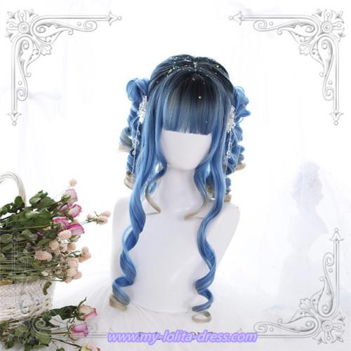 Blue Rome~Hair End Gradient 60cm Long Curls Lolita Wig
