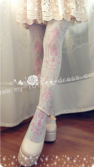 Elegant Vintage Droplight Prints Lolita Tights - IN STOCK
