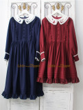 Little Dipper  ~Cat + Moon + Stars~ Embroidery Lolita Long Sleeves OP Dress - In Stock