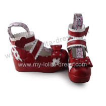 Wine Wide Ankle Belts Bow Lolita Slipping Heel Shoes