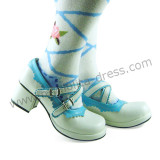 White Skyblue Double Straps Girls Shoes