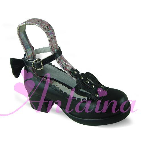 Black Retro Crown Lolita Shoes
