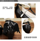Angelic Imprint- Gothic T-shaped Straps Lolita Heels Shoes with Detachable Angel Wings