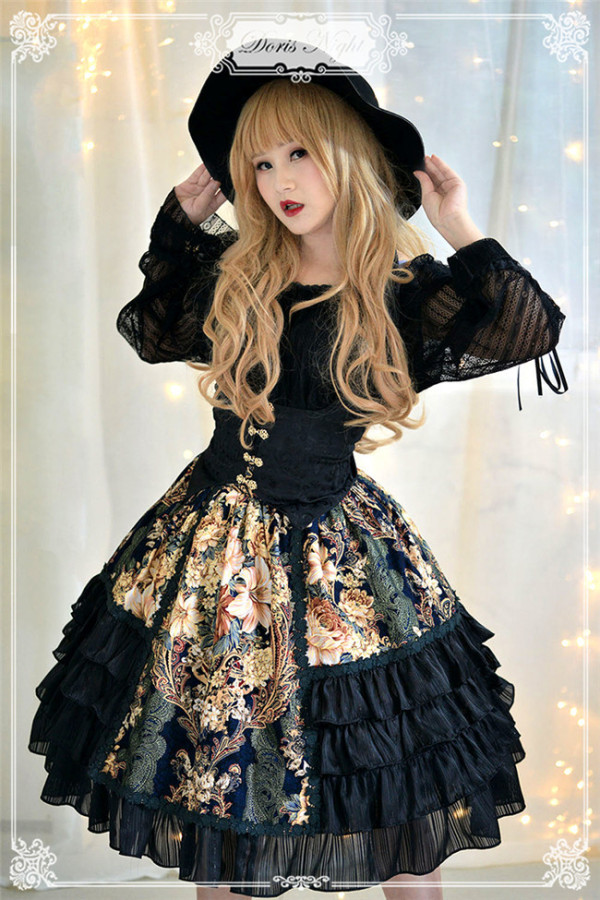 The Night Rose~ Pure Cotton Jacquard Lolita Skirt