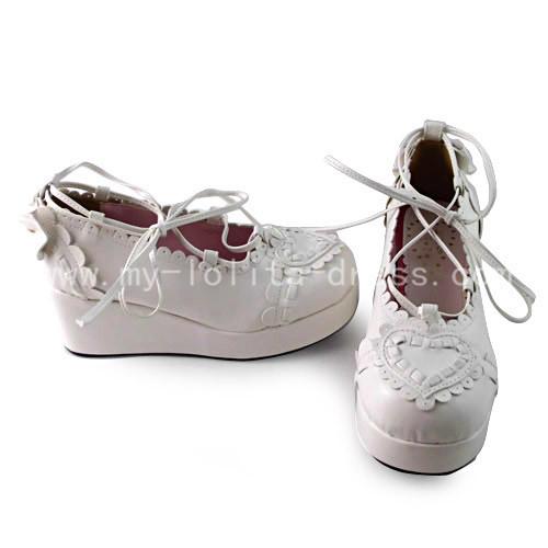 Sweet Heart Trim White Lolita Shoes