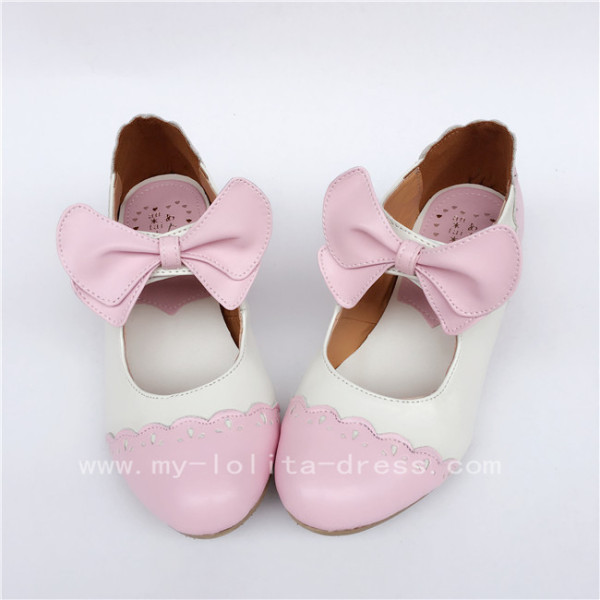 sweet Pink with White Lolita Heels Shoes