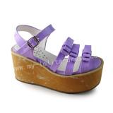 Purple Wood Color Sole High Platform Shoes