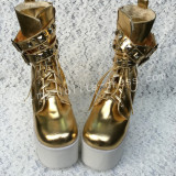 Sweet Glossy Gold Lolita High Platform