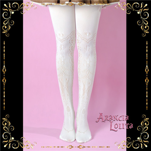 Arancia Lolita ~The Heart of Delevo Lolita Tights -In Stock