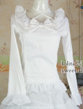 (Replica)Long Sleeves Ruffles Blouse White XS - Free Shipping