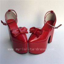 Elegant Red Glossy Square Heel Lolita High Platfrom Shoes