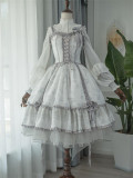 Cream Mille Crepes Vintage Lolita JSK(Long Version Available)