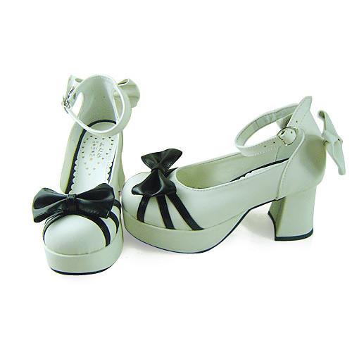 White Black Elegant Princess Shoes