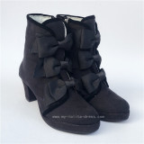 Black Velvet Bows Lolita Winter Boots