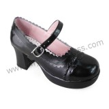 Black PU Ladies Lolita Heels Shoes
