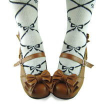 Light Coffee Bows Lolita Shoes