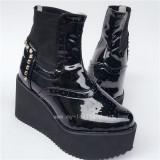 Super Black Glossy Lolita Short Boots