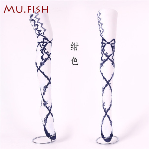 Mu Fish ~Lace Cross~Gothic Lolita High Socks -Ready Made