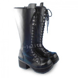 Elegant Black High Shaft Lolita Boots