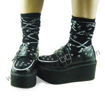 Black Silver Punk Lolita Shoes