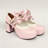 Black High Heels Lolita Shoes White Trim