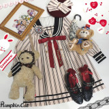 Pumpkin Cat ~Excellent Student~ Stripe Lolita OP/OP Fullset -Ready Made