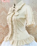 Cotton Short Sleeves Ruffles Bows Lolita Shirt 7 Colors Pink S & Khaki M - In Stock